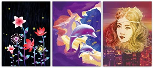 Jwqing 3 Piece Nordic Watercolor Style Poster Prints Cartoon Flower Girl and Dolphin Painting Kids Room Canvas Wall Art Pictures Home Decor(40x60cm No Frame)