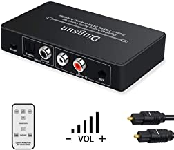 Optical to RCA, Digital to Analog Audio Converter, Optical to RCA Converter with Volume Control, DAC Converter Supports Sampling Rate Highest 192KHz, 24bit, Digital Audio Converter with Remote, Optica