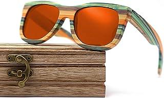 CZA - CZA Hecho a Mano para Hombre de Las Gafas de Sol de bambú del Brazo de Madera con Patas de Madera y Lentes polarizadas Gafas de Madera,Coated Red
