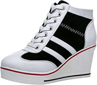 rismart Donna Tela Zeppa Sneaker Piattaforma High Top Scarpe