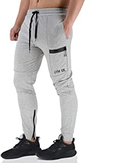 EK Mens Gym Jogger Pants Training Workout Slim fit Sweatpants Causal Leg Zipper