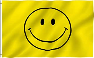 Anley Fly Breeze 3x5 Foot Yellow Smiley Face Flag - Vivid Color and UV Fade Resistant - Canvas Header and Double Stitched - Happy Face Flags Polyester with Brass Grommets 3 X 5 Ft
