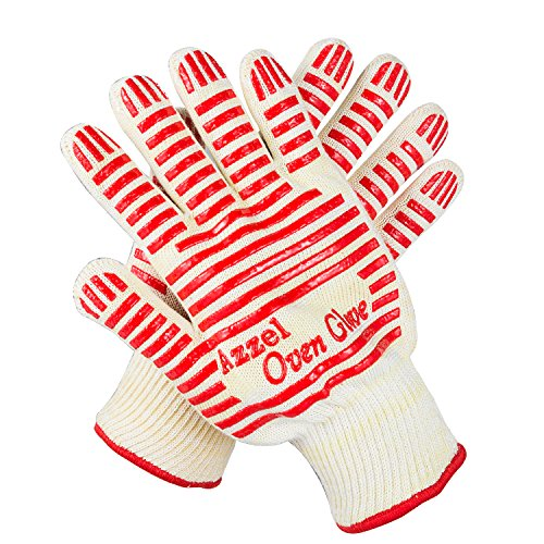Azzel Heat Resistant Gloves,EN407 Certified Oven Mitts with Fingers,Non-Slip Silicone Grip for Kitchen Cooking BBQ (1 Pair), Red