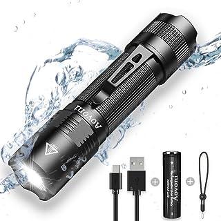 【最新版】AOVONI ペンライト 充電式 LED 強力 小型 超高輝度350ルーメン 懐中電灯 5モード調光 LEDペンライト 軍用 IP67防水 防災 停電対策 軽量 明るい 耐久 電池 USBケーブル付属