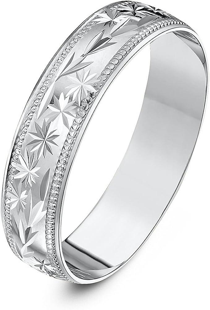 Silver 5mm Wedding Band with Wide Millgarain Edge.