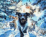 AOTAO Painting By Number Dog Drawing On Canvas DIY Pictures By Numbers Animal Kits Hand Painted Paintings Art Gift Home Decor(40x50cm 16x20inch)