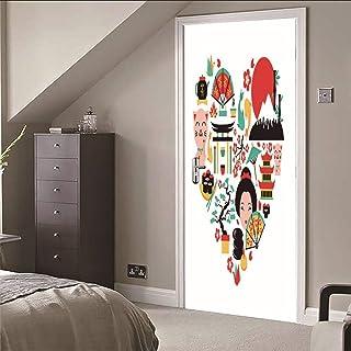Etiqueta de la puerta Mural 3D Cultura japonesa Rompecabezas de amor para el baño del dormitorioEtiqueta de pared autoadhesiva de PVC, 77X200cm
