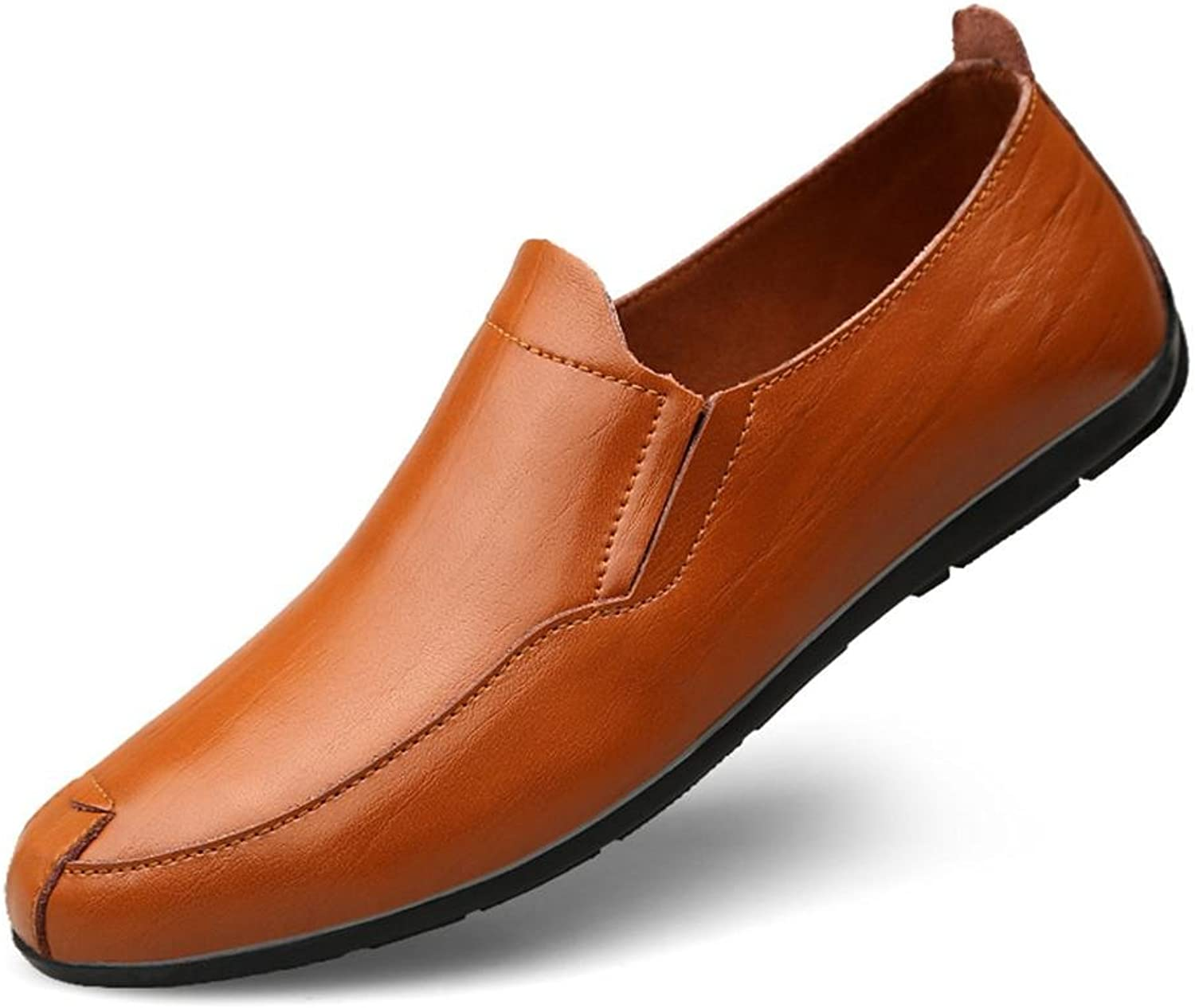 Men'S shoes Leather Casual Rubber Elastic Soft Sole Driving Slip On Clipper Loafers Flat Black Brown Size 39 To 46