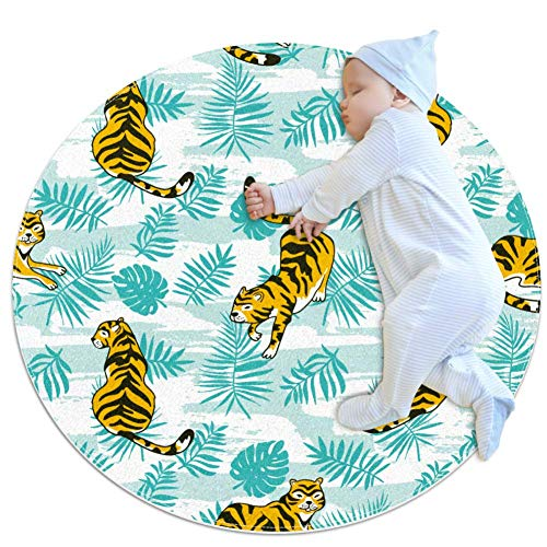 rogueDIV Tigers and Palm Leaves Super Soft Cotton Baby and Children's Carpet Circular Area Carpet Children's Play Mat Diameter