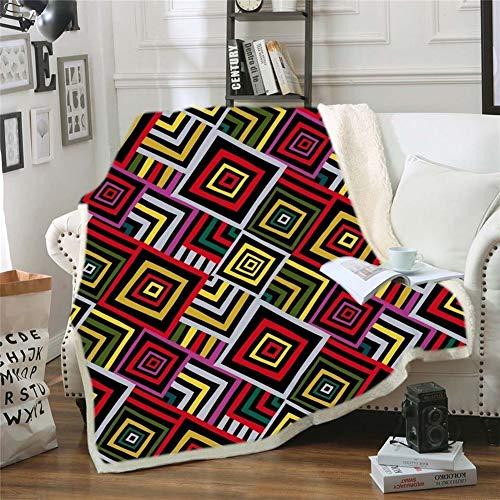 HUDNNFO Exquisito Super Suave Sherpa Fleece Blanket Throw Blanket Plaza de impresión en Caliente de Cama y sofá para sofá Cama (Color : 7, Size : 130X150cm)