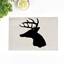 rouihot Set of 4 Placemats Buck Whitetail Deer Head Silhouette Woods Antler Archery Arrow 12.5x17 Inch Non-Slip Washable Place Mats for Dinner Parties Decor Kitchen Table