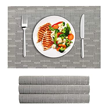VEEYOO Woven Vinyl Non-slip Insulation Heat Stain Resistant Washable Table Placemats Kitchen Dining Table Top Meal Mat Place Mats, Set of 4, Gray