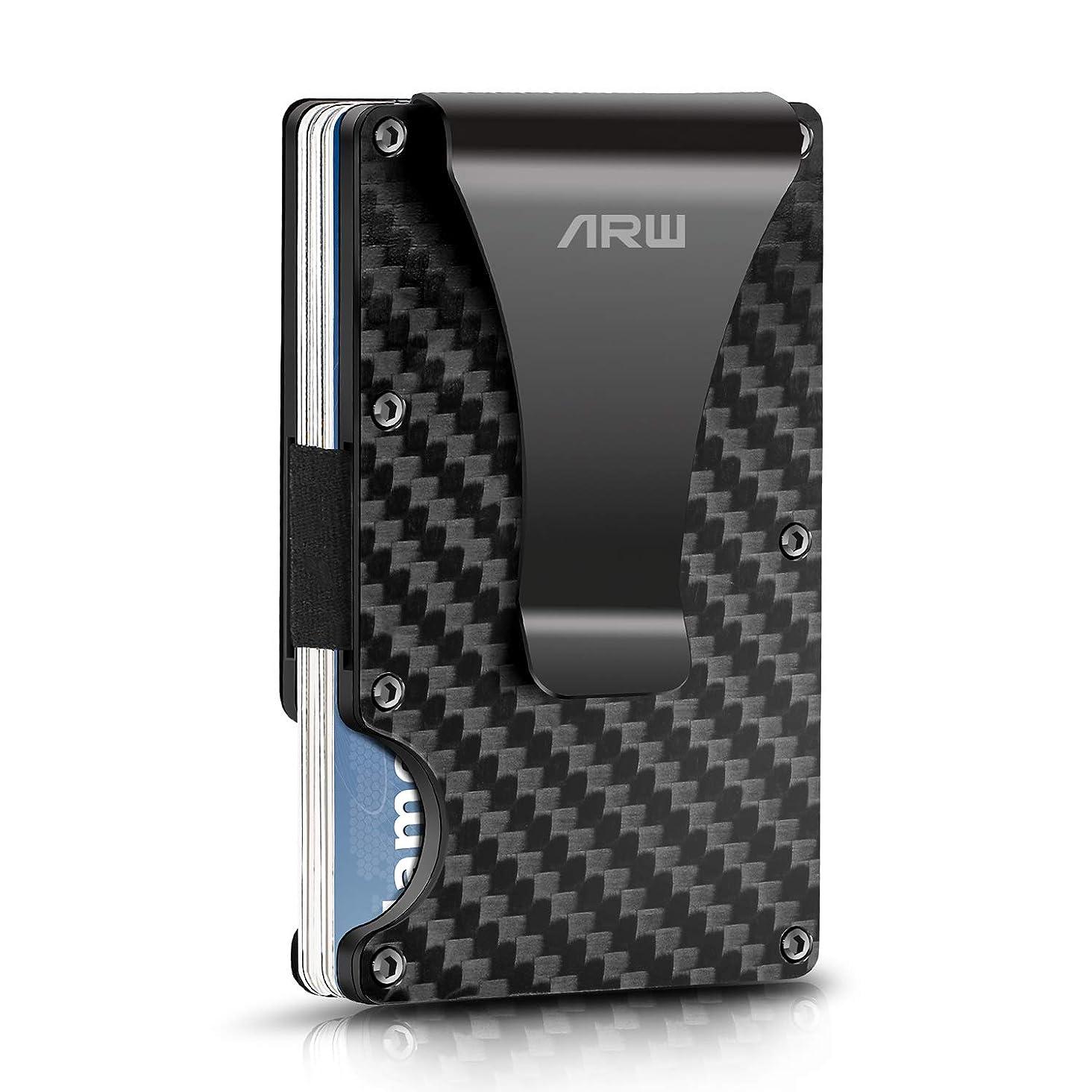 Carbon Fiber Wallet, ARW Metal Money Clip Wallet, RFID Blocking Minimalist Wallet for Men