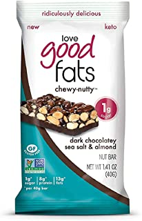 Love Good Fats Plant-Based Bars – Chewy-Nutty Dark Chocolatey Sea Salt & Almond – Keto-Friendly Protein Bar with Natural I...