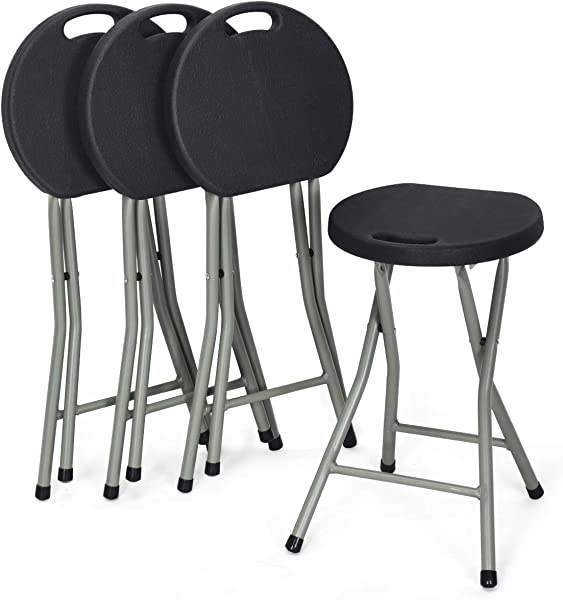 COSTWAY Set Of 4 Folding Stool Heavy Duty 18 Inch Foldable Round Chair Portable Collapsible Padded Seats With Durable Iron Legs 300lbs Capacity For Adults Suitable For Indoor And Outdoor Black