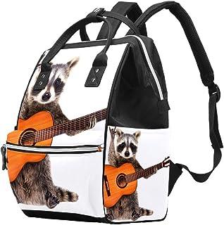 Multifunctionele grote baby luiertas rugzak, grappige wasbeer met akoestische gitaar luiertas reizen rugzak voor mama en papa
