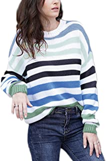 JUPE VENDUE Women Cute Color Block Sweater Crew Neck Pullover Casual Loose Long Sleeve Striped Knit Tops
