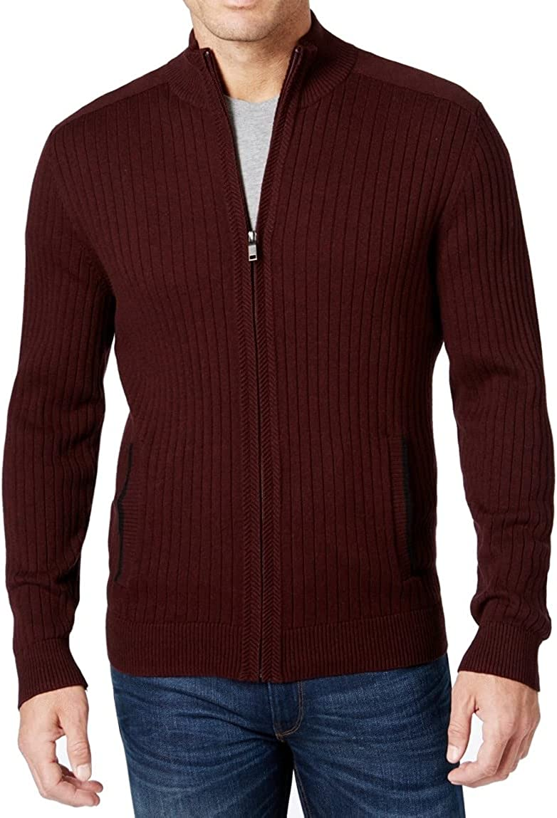 Alfani Mens San Francisco Mall Sweater Port At the price of surprise Ribbed Mock-Neck Full Red Knit XL Zip