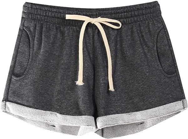 Wodceeke Sport Pants Summer Women Casual Solid Pockets Elastic Waist Loose Pajama Shorts Gym Sport Pants
