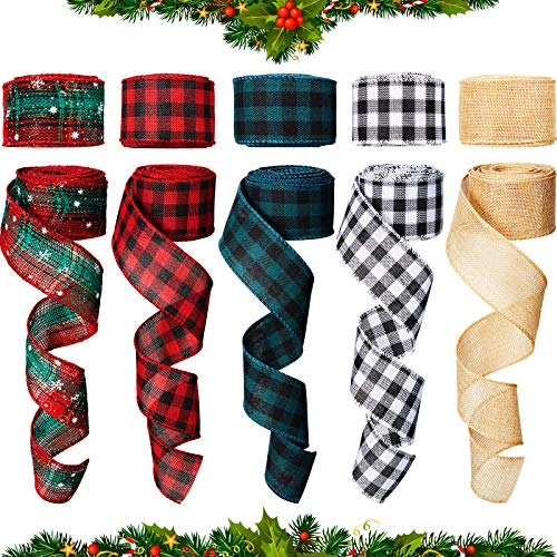 5 Pieces Burlap Ribbon Christmas Wired Edge Ribbons Wired Plaid Ribbon for DIY Craft Wrapping Christmas Decoration Floral Bows Craft