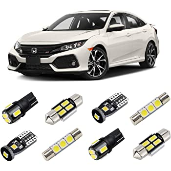 amazon com brishine white interior led lights kit for honda civic 2016 2017 2018 2019 2020 super bright 6000k interior led light bulbs package and install tool automotive amazon com