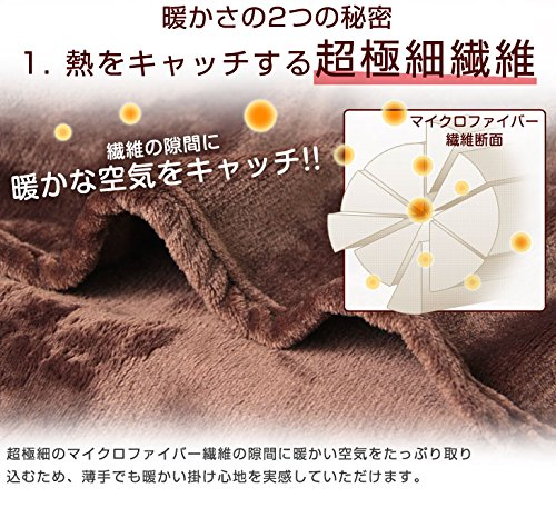 『昭和西川 マイクロファイバー毛布 洗えるフランネルタッチ シングル 140×190cm ブラウン 20700004 12AM 【64572】』の4枚目の画像