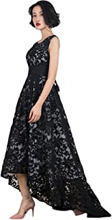 Women's Black Evening Dress Lace Layout Hi-lo Maxi Prom Dresses