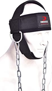 DMoose Fitness Neck Harness for Weight Training & Injury Recovery, Long Steel Chain and D-Rings, Neck Workout Equipment to...