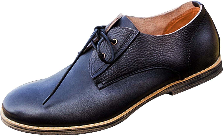 Insun Men's Black Cowhide Laces Oxford shoes 10.5
