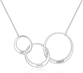 Personalized Name Karma Generation Friendship Necklace Interlocking Infinity Circle Pendant for Sisters, Grandma, Mother & Granddaughter Family Bonds Gift