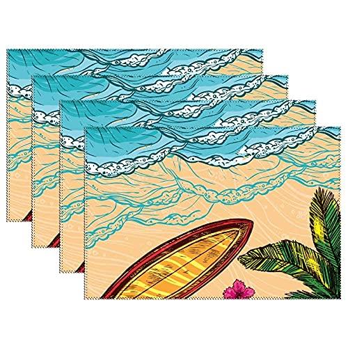 Manteles Individuales Antideslizantes Resistentes Al Calor Manteles Individuales Lavables Lona De Flores De Tabla De Surf De Árbol De Coco Tropical De Hawaii