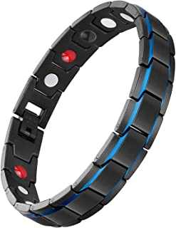 Feraco 4 Elements Bracelet for Men Health Magnetic Therapy Bracelets for Arthritis Effective Pain Relief, Black Blue