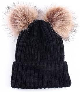 Women Winter Chunky Knit Double Pom Pom Beanie Hats Cozy Warm Slouchy Hat