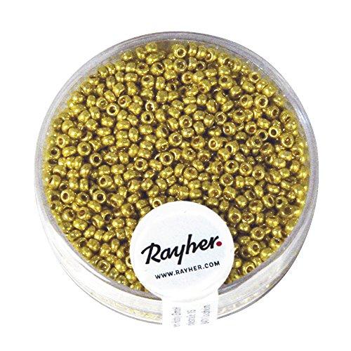 Rayher 1407506 Rocailles, 2,0 mm ø, parelmoer, doos 17 g, goud, niet wax
