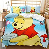 Winnie The Pooh, Tiger Bedding Cartoon Duvet Cover 100% Microfibre Suitable for All Seasons (W05.135x200cm+80x80cmx2)