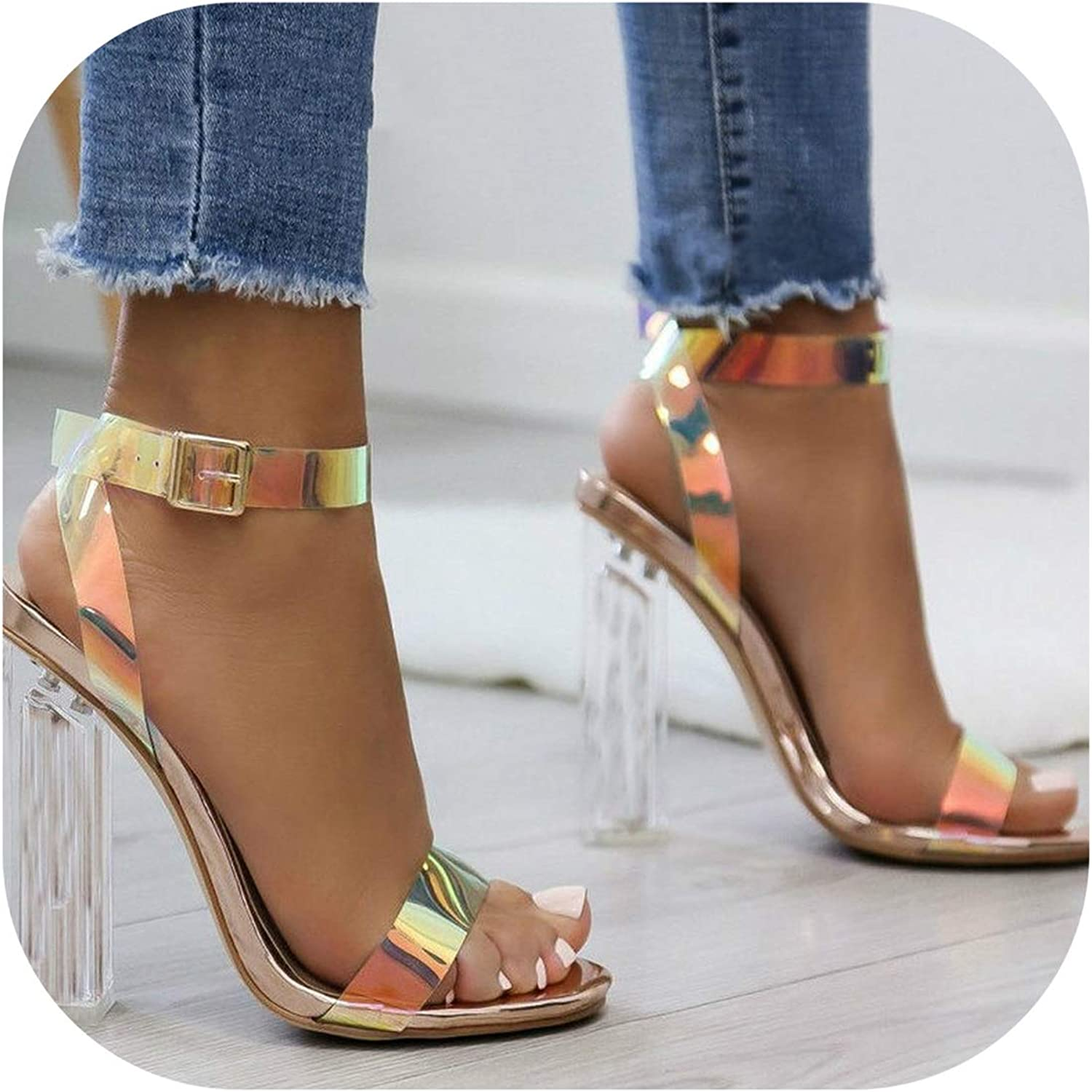 PVC Clear Transparent Strappy High Heels shoes Women Sandals Peep Toe Sexy Party Female Ladies shoes