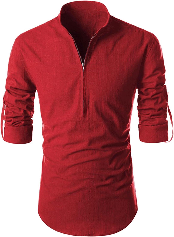WoCoo Men Pullover Tops Solid Long Sleeve Stand Collar Zip Shirt Soft Comfy Cotton Linen Blouse Workout Running Top