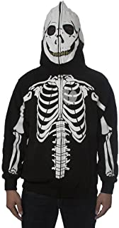 Mens Skeleton Skull Face Zip Up Hooded Jacket - Small