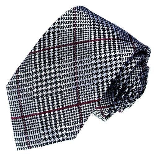 Lorenzo Cana - schwarz weiss rot karierte 100% Seiden Krawatte - Karo Marken Designkrawatte - 36050