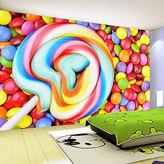 WPFZH 3D Mural Color Candy Lollipop Non-Woven Wallpaper Children's Room Bedroom Decoration Painting Wall Mural Wallpaper Kids-150x105cm