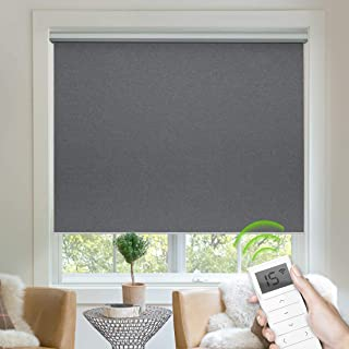 Yoolax Free-Stop Blackout Roller Shade Fabric Material Motorized Blind Cordless Remote Control Room Darkening Privacy Window Blind with Valance (Dark Grey)