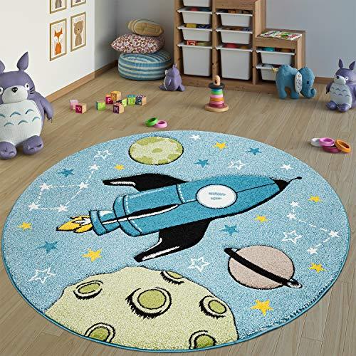 Paco Home Kinderteppich Kinderzimmer Teppich Rund Kurzflor Weltraum Rakete In Blau, Grösse:Ø 120 cm Rund