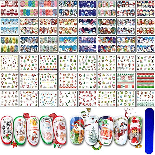 Christmas Nail Art Water Transfer Stickers,48 Sheets Gnimrahc DIY Nail Decals for Women Girls Kids Nail Tattoos Wraps Nail Salon or Xmas Eve Party,Water Peel and Stick Nail Design Manicure Decoration