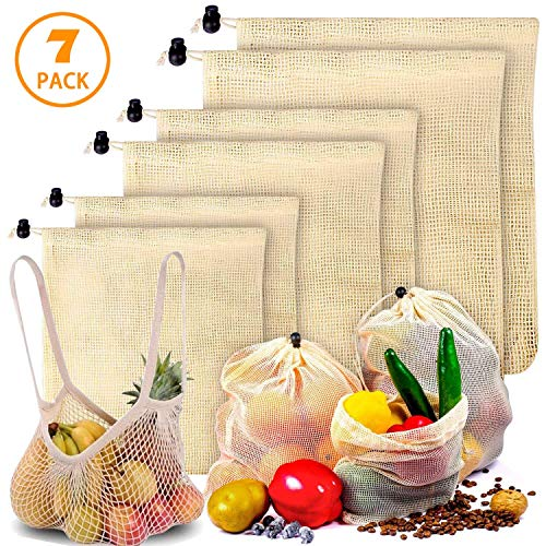Reusable Produce Bags - Durable Organic Cotton Mesh Vegetable Bags ECO-Friendly Grocery Bags for Grocery Shopping and Storage Machine Washable Biodegradable Eco-Friendly 2L2M2S1 Grocery Tote