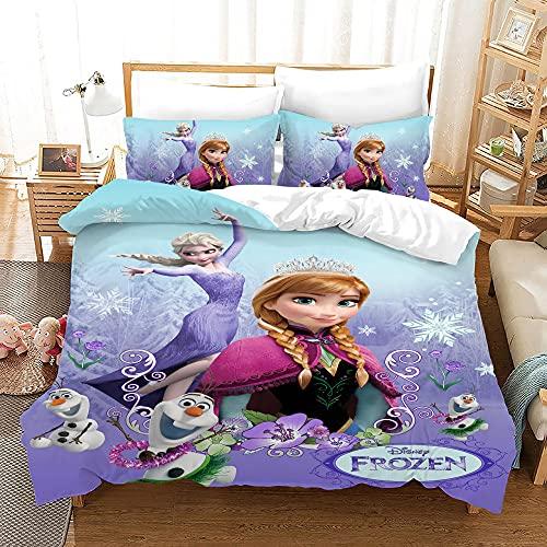 Kseyic Disney Frozen Juego de ropa de cama con diseño de Anna y Elsa Olaf Kristoff funda de edredón con impresión digital 3D, microfibra, con funda de almohada, para niños y niñas (v,200 x 200)