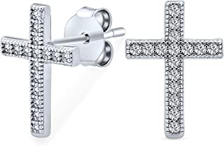 Cross Religious Communion CZ Micro Pave Tiny Stud Earrings For Women For Teen Men Cubic Zirconia 925 Sterling Silver