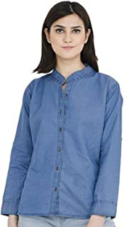 C.Cozami Women's Solid Casual Long Sleeves Denim Light Blue/Dark Blue Shirt
