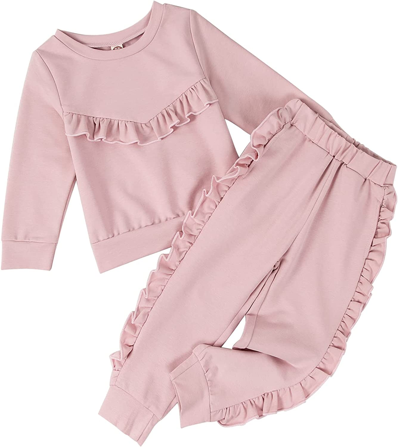 Ruffled Infant Baby Girl Clothes Set Long Sleeve Solid Cotton Sweatshirts Tops Pants Fall Winter Outfits 2-7T