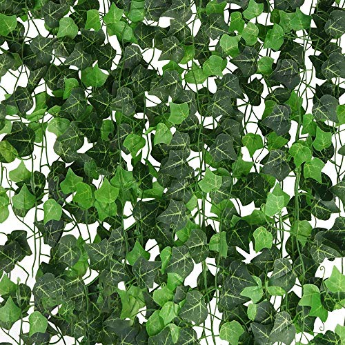 A-DECOR 84 ft-12 Pack Artificial Ivy Garland Hanging Vines for Bedroom Wedding Party Green Decoration Wall Plants Jungle Leaves Faux Backdrop Decorative Leaf Foliage Face Greenery Fake Plant Decor