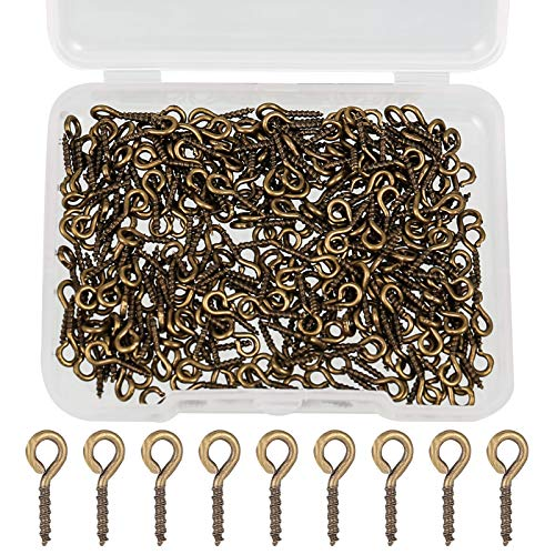 metagio 300 unidades de mini ojos tornillos clavos, ojales, ganchos roscados, metal para resina, joyas, perlas y plástico (cian antiguo)